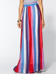 Watercolor stripe maxi skirt.