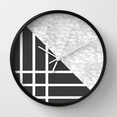 Mix Wall Clock #wallclock #clock #watches #time #marble #lines #black #white #homedecor #decoration #bed #bedroom #sofa #interiors #decor #art #artdeco