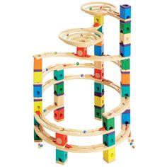 HAPE Quadrilla Kugelbahnen The Cyclone 198tlg.  #HAPE #Kugelbahn #Spielzeug #Kinderspielzeug #Cyclone #198teilig #Wirbelsturm #Beschleuniger #Spiraltrichter #Schienen #Glasmurmeln #Holzkugelbahn #Höhenabstufungen #ab4Jahren