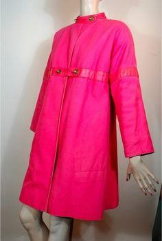 Shocking pink vintage Bonnie Cashin canvas and leather coat