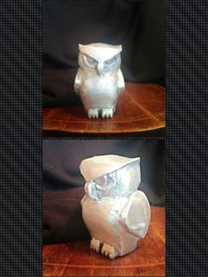 Owl made from 43 melted aluminum cans.