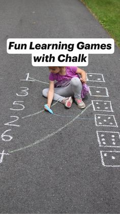 Fun Learning Games with Chalk Preschool Learning Activities, Educational Activities For Kids, Preschool Activities, Teaching Kids, Stem Learning, Gross Motor Activities, Outdoor Learning, Kids Education, Modern Buildings