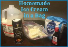 Here is a great activity for the kids (and adults too) today!  <3 HOMEMADE ICE CREAM IN A BAG <3  Ingredients... Ice Cubes 1/2 cup half and half or whole milk 1/2 teaspoon vanilla extract 1 tablespoon sugar 1/2 cup Kosher or Rock salt 4 cups ice (crushed or cubed) 2 quart size sealable freezer bags 2 gallon-size sealable freezer bags  OPTIONAL toppings:  candy sprinkles, fruit puree, fudge or caramel sauce, chopped nuts, etc  Directions: Combine the half and half, sugar and vanilla extract…