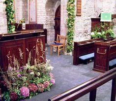 St Giles, Ludford, Harvest Festival 2011 - reader's desk, chancel arch and pulpit.