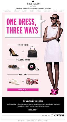 Kate Spade One Dress, Three Ways Email Newsletter Design