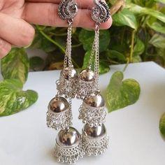 Bali jhumka earrings/Punjabi jhumka earrings/Pakistani jhumka earrings/simple earrings/new earrings design artificial/latest 2020 earrings new designs Jewelry Design Earrings, Bar Stud Earrings, Simple Earrings, Fashion Earrings, Emoji Earrings, Silver Jewellery Indian, Silver Jewelry, Silver Earrings, Stylish Jewelry
