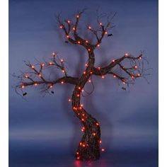 Penn 5' Lighted Spooky Black Rattan Halloween Tree with Bats Yard Art Decoration - Orange Lights