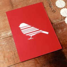Christmas Robin papercut card.