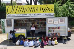 Ottimomassimo, Italy's traveling library operates since It brought stories to kids across the country! Little Free Libraries, Little Library, Free Library, Library Books, Mobile Library, Enough Book, Book Cafe, Library Design, Reading Room