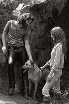 Jim Morrison and Pamela Courson at Bronson Caves - Hollywood Hills - 1967