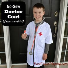 No-Sew Doctor Lab Coat from East Coast Mommy dramat play, reading books, pretend play, lab coat