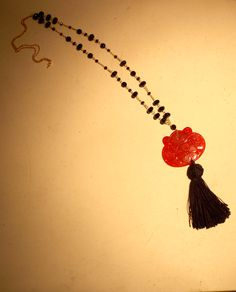 long necklace with jade and garnets...