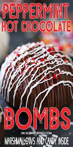 Hot Chocolate Bombs are chocolate spheres in numerous flavors full of cocoa mix, marshmallows, sprinkles Kid Drinks, Non Alcoholic Drinks, Party Drinks, Yummy Drinks, Chocolate Bomb, Peppermint, Tailgate Drinks, Blended Drinks, Easy Drink Recipes