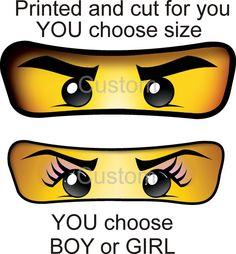Ninjago Ninja Eye BOY or GIRL - You choose size - stickers for Balloons, Treat Bags - Birthday Invitation