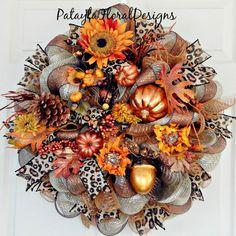 XL Fall Copper Deco Mesh Wreath, Thanksgiving Wreath, Feathers And Pumpkins, Leopard Ribbon, Sunflower Wreath, Orange Copper, Door Wreath,