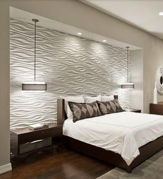 Bedroom Design, Cool Contemporary Bedroom With White Texture Bedroom Wall Designs Also Comely Twin Pendant Lamp Also Mod Brown Nightstand Also Queen Size Bed With Brown Wooden Divan Also White Quilt And Brown Pillowcase: Two Best Bedroom Wall Designs Modern Master Bedroom, Modern Bedroom Design, Master Bedroom Design, Contemporary Bedroom, Home Bedroom, Bedroom Decor, Bedroom Ideas, Bedroom Lighting, Bedroom Photos