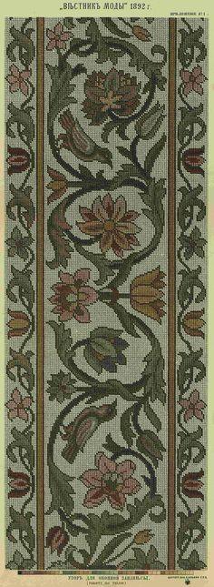 Old gobelin chart Cross Stitch Bird, Cross Stitch Borders, Cross Stitch Charts, Cross Stitching, Cross Stitch Embroidery, Embroidery Patterns, Hand Embroidery, Cross Stitch Patterns, Tapete Floral