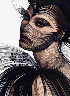 Not body art, but nice idea! Foto Fashion, Fashion Art, Sketch Fashion, Dali, Arte Linear, Art Visage, Illustration Sketches, Illustrations, Sketch Art
