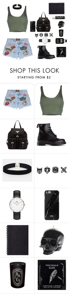 """""""Untitled #28"""" by manerefortis ❤ liked on Polyvore featuring MadeWorn, Roque, Prada, Dr. Martens, ASOS, Topshop, Daniel Wellington, Native Union, Chapstick and D.L. & Co."""