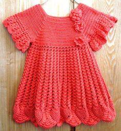 Kız Çocukları İçin Örgü Kırmızı Elbise Modeli