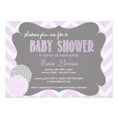 Lavender Chic Chevron Baby Shower Invitation