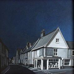 The Corner Shop - acrylic & pen on canvas 12x12x2 in  By Deborah Batt