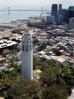 San Francisco, Californië: View 75 feet above coit tower [-] Coit Tower San Francisco, San Francisco City, San Francisco Travel, San Francisco California, Images Of California, California Vacation, Northern California, San Francisco Girls, San Fransisco