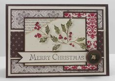 Lovely blend of paper patterns (card by Nancy Riley). #cards #card_making #scrapbooking #Christmas