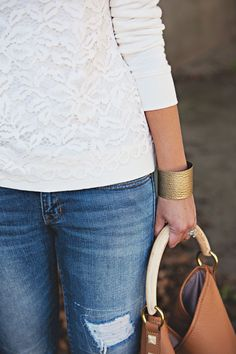 jillgg's good life (for less)   a style blog: my everyday style: casual style with a lace sweatshirt!