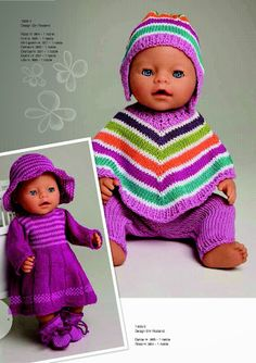 Ideas For Knitting Baby Girl Sweater Doll Clothes Knitting Dolls Clothes, Crochet Doll Clothes, Knitted Dolls, Doll Clothes Patterns, Baby Born Clothes, Girl Doll Clothes, Girl Dolls, Baby Dolls, Knitting Baby Girl
