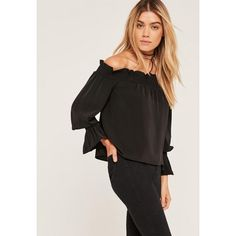 Missguided Shirred Cuff Bardot Blouse ($40) ❤ liked on Polyvore featuring tops, blouses, black, gathered top, stretch blouse, stretch top, shirred blouse and rouched top