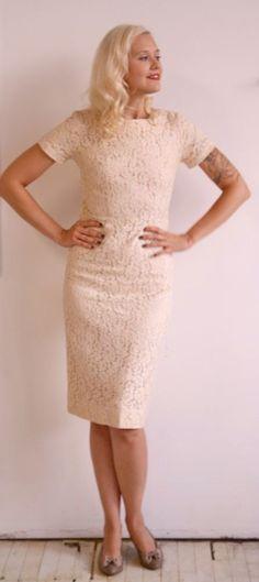 1960s Dress // Ivory Lace Wiggle Dress // add a bow somewhere :)
