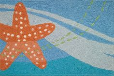 Jellybean Rug Indoor/Outdoor Starfish Beach Condo Decor