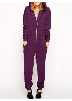 Comfy Purple Zipper Design Hooded Jumpsuits at rotita.com !  i want this to lounge around the house!!!!