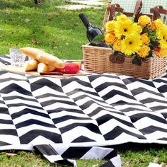 Chevron Black and White Picnic Blanket