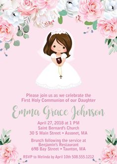 Adorable Girl First Communion Invitations featuring a variety of hair and skin tones. Easily change the background colors for a personal Holy Communion. St Bernard Church, Recuerdos Primera Comunion Ideas, Printable Invitations, Printables, Invitation Cards, Photo Invitations, Shower Invitations, Envelopes, First Communion Invitations