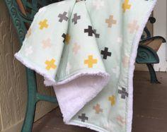 Swiss Cross Minky Stroller Blanket, Tribal Print, Mint, White, Gray & Mustard Toddler Baby Blanket in Designer Fabric - Made to Order