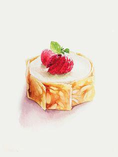 Looking delicious - foods - Cute Food Drawings, Dessert Illustration, Food Sketch, Watercolor Food, Food Painting, Cupcakes, Food Journal, Dessert Drinks, Mets