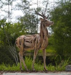 Buck Deer - Handcrafted from Natural Salvaged Driftwood & Roots  - Woodland Creek's Artisans Can Create You a One-of-a-Kind Piece - Perfect for Outdoor Display!