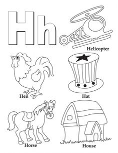 my a to z coloring book letter h coloring page download free - Coloring Page For Kindergarten