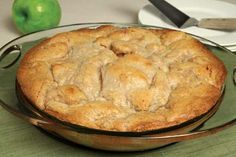 Crustless Apple Pie with Almond Topping - Grated Odense Almond Paste makes a sweet almond topping to cover tart Granny Smith Apples. It's super easy to make, with no bottom crust and a topping that's spooned on.