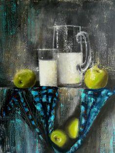 """Купить """"Натюрморт с яблоками и молоком"""" - черный, яблоки, бокал, натюрморт с яблоками, молоко, молочный"""