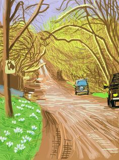 David Hockney (British, b. 1937), The Arrival of Spring in Woldgate, East Yorkshire in 2011 (twenty eleven) - 5 March 2011, 2011. IPad drawing printed on paper, ED. 6/25, 139.7 x 105.4 cm.