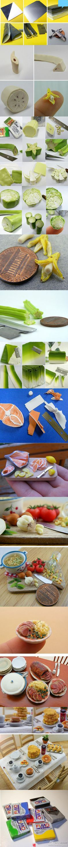 Picture Tutorial - making miniature food with fimo clay.