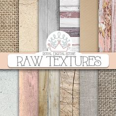 """Textured digital paper: """" RAW TEXTURES"""" with textured paper, wood, burlap, concrete textures, backgrounds for scrapbooking, cards"""