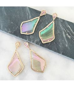 Alexis Earrings in Iridescent Peach - Kendra Scott Jewelry. I think these match my rose gold bracelet.