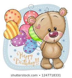 Greeting card Teddy Bear with balloons. Greeting card Cute Cartoon Teddy Bear with balloons royalty free illustration Tatty Teddy, Birthday Wishes Cards, Birthday Greetings, Card Birthday, Happy Birthday, Cartoon Mignon, Teddy Bear Drawing, Teddy Bear Pictures, Cute Cartoon Pictures