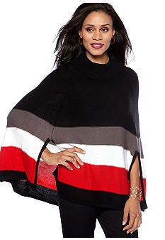 ND® New Directions Striped Poncho Sweater #belk