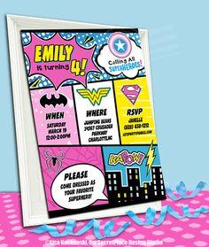 PRINTABLE Comic Book Invite Girl Superhero Birthday Invitation