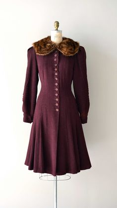~A beautiful burgundy hued, fur collar adorned vintage 1930s Asquith House Princess Coat~